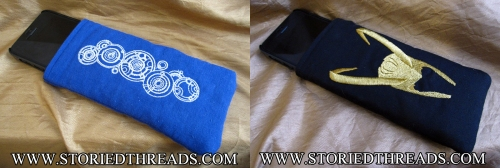 Doctor Who and Loki iPhone sleeves.